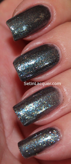 OPI On Her Majestys Secret Service on the pointer and middle finger. Zoya Fei Fei on the ring finger and pinkie.