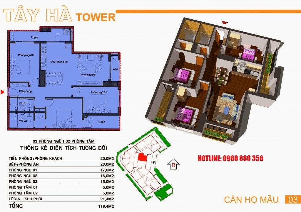 Căn hộ số 3 chung cư Tây Hà Tower