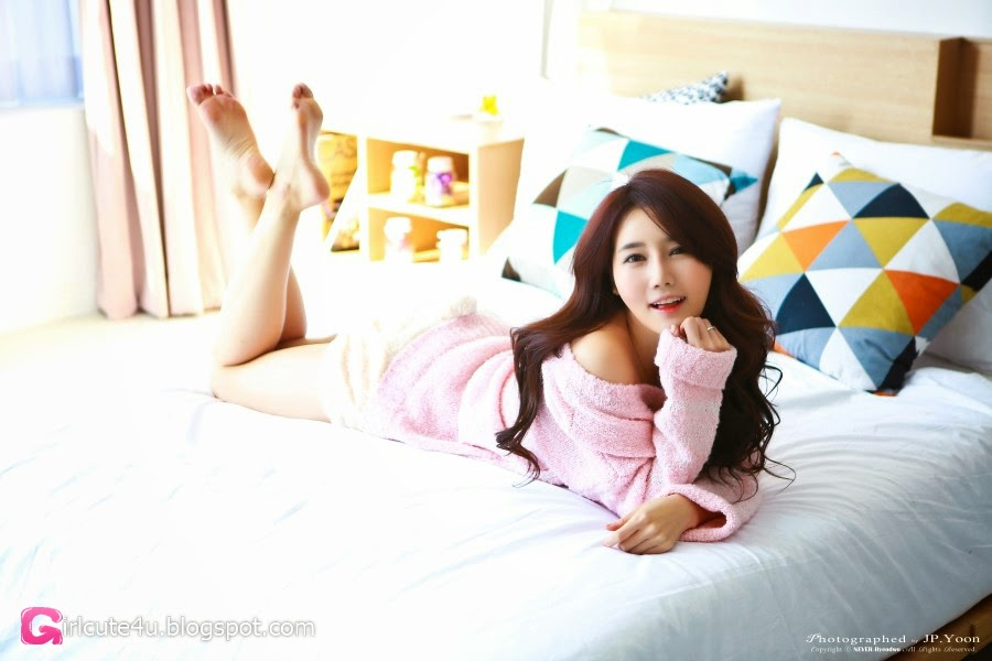 1 Han Ga Eun - Pink, Yellow & Stripes - very cute asian girl-girlcute4u.blogspot.com