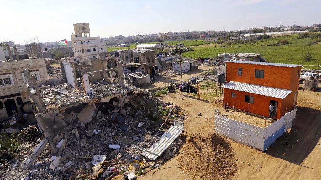 Território palestino devastado pelos ataques terroristas de Israel