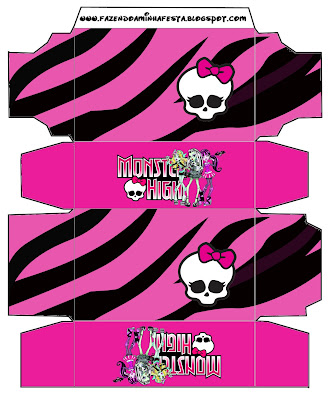 Monster High: cajas para imprimir gratis.