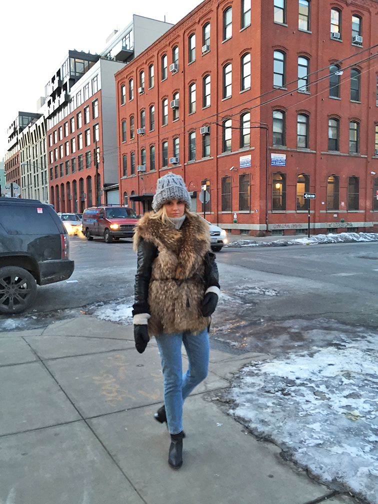 Fashion Over Reason in Brooklyn, Adrienne Landau fur vest, Bottega Veneta cross body bag, Monki jeans, Alexander Wang Anouk boots, Mackage leather jacket