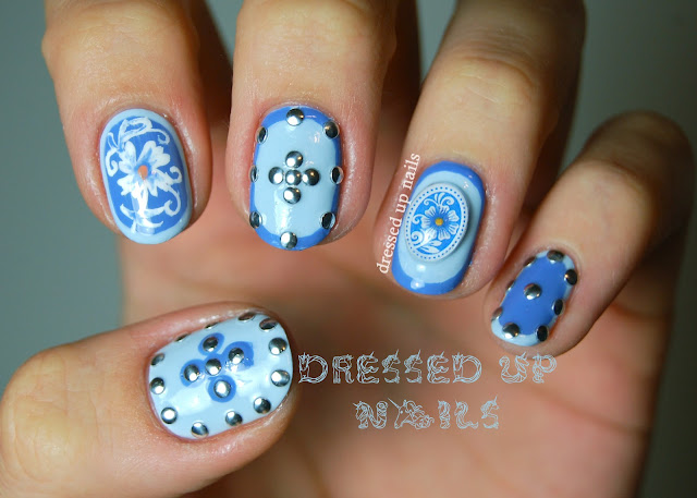 Dressed Up Nails - floral, framing and stud nail art