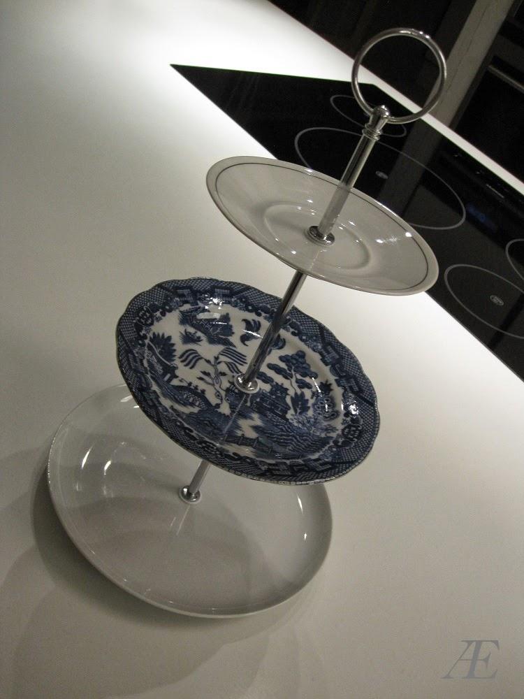 DIY, kagefad, 3-delt, tallerkner, genbrug, underkop, porcelæn, håndtag, byg selv,