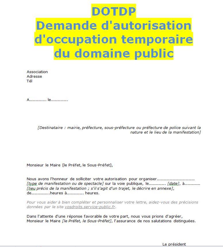 lettre de demande d autorisation au maire