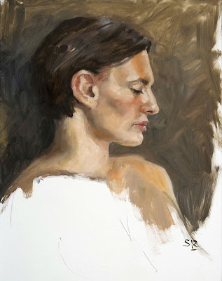 Mercedes, three hour painted sketch in oils, Shannon Reynolds
