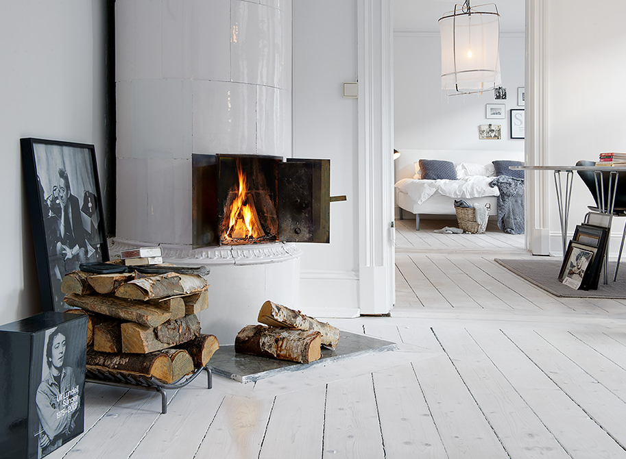 White Wood Floors and Fireplace
