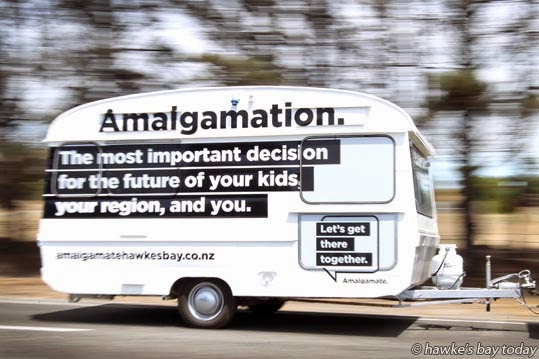 Lizzie Russell, co-ordinator of Amalgamate Hawke's Bay, will be using this  caravan to promote their website and their cause, the amalgamation of the Hawke's Bay councils. photograph