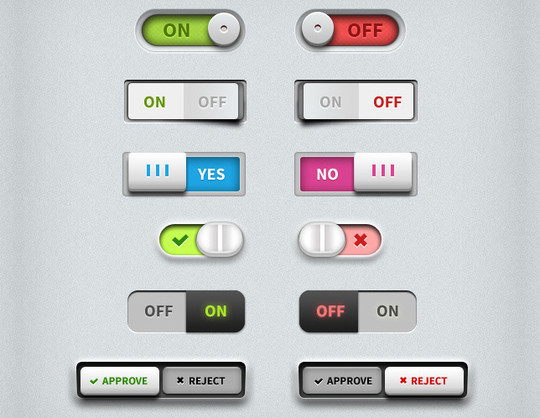 20 Free Toggle Switches UI Elements (PSD)