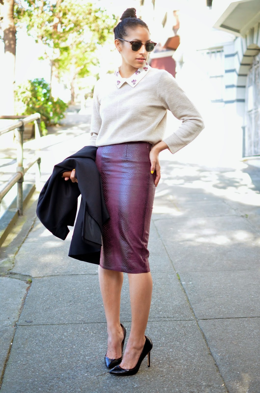pencil skirt, the style club, sophie t. simmons, snakeprint pencil skirt, zara shoes, zara, j. crew jeweled sweater