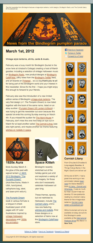 March 2012 Newsletter from Bindlegrim features vintage-style Halloween lanterns, shirt designs, Bindlegrim radio, and the Cornish Litany