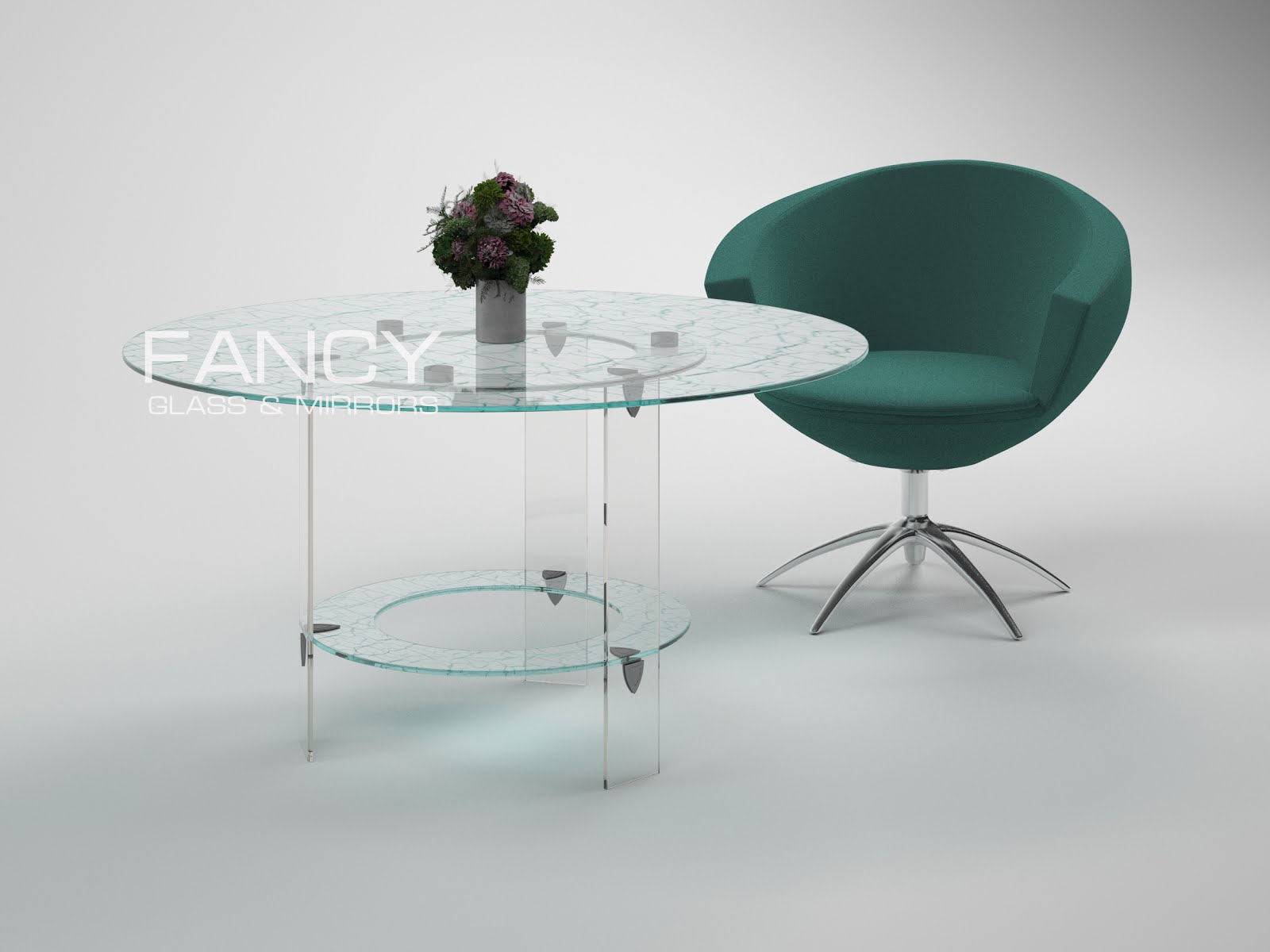 Сircular dining table made of cracle laminated glass cascade