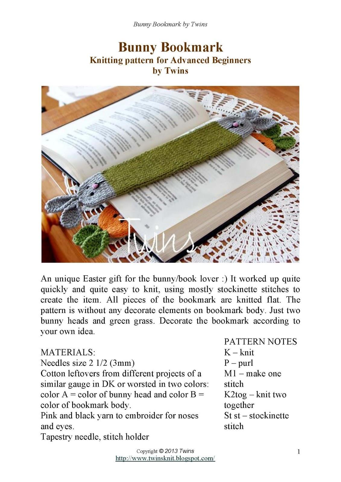 Knitting Patterns For Advanced Beginner : Twins Knitting Pattern MiniShop: Bunny Bookmark - free knitting pattern ...