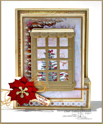 Our Daily Bread Designs Stamp sets: Home Sweet Home, ODBD Custom Dies, Flourished Star Pattern, Peaceful Poinsettia, Welcoming Window, Window Shutter and Awning, Mini Tags, Our Daily Bread Designs Paper Collections: Christmas Paper 2014, Winter Paper 2014