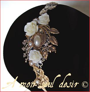 Serre-tête fleurs floral mariage féerique elfique cabochons nacrées pearly flower fairy elven wedding headband