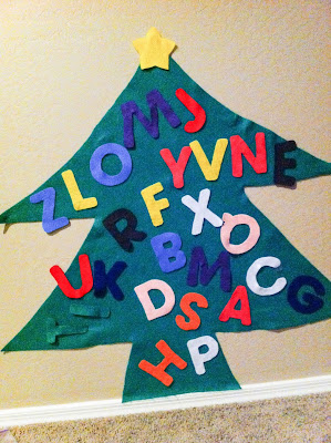 Felt Alphabet Christmas Tree- cheap, easy, DIY http://alohamoraopenabook.blogspot.com/
