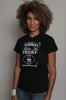 v-neck whiskey frisky tee
