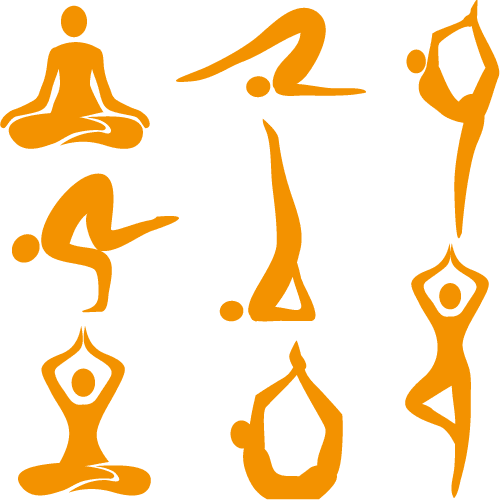 Iconos con poses de Yoga - Vector