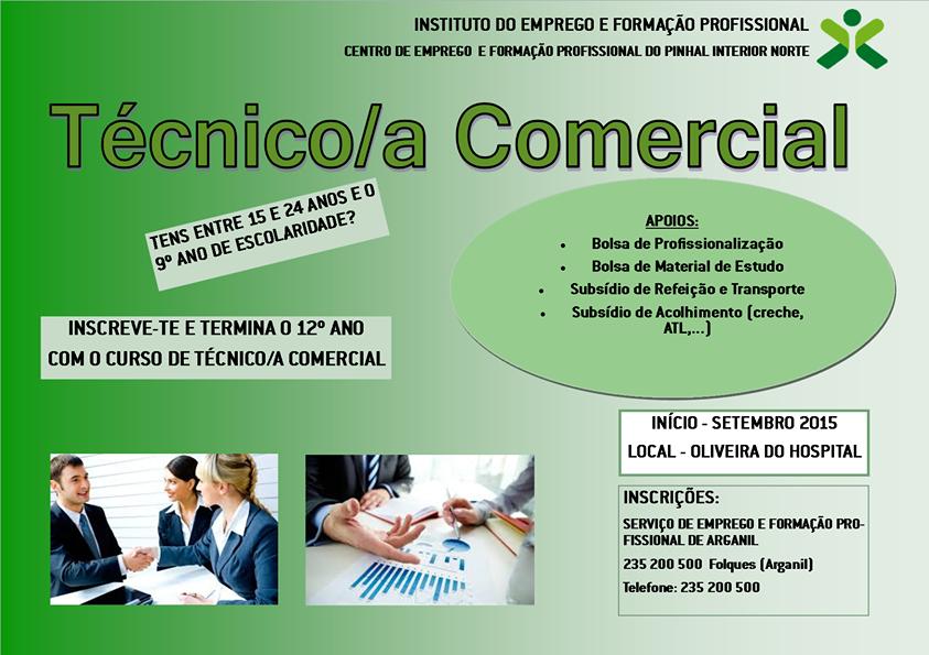 Curso financiado para jovens (Técnico Comercial) – Oliveira do Hospital (equivalente ao 12o)