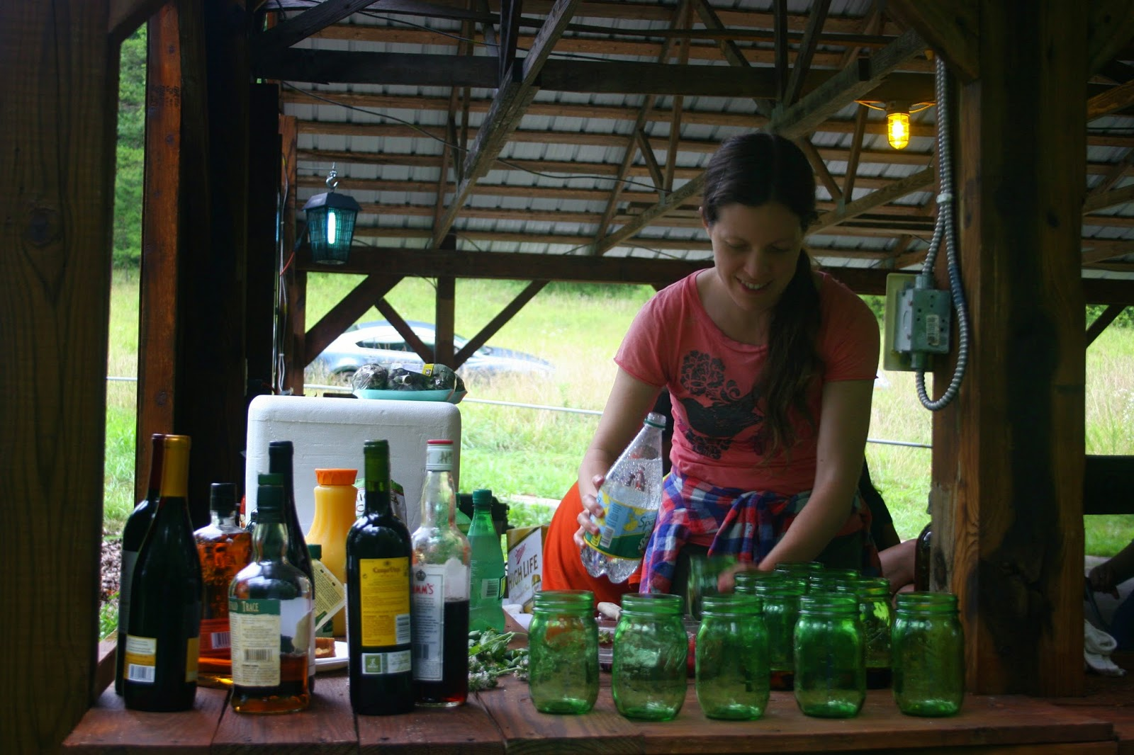 Bradley prepares drinks at Big Switch Farm