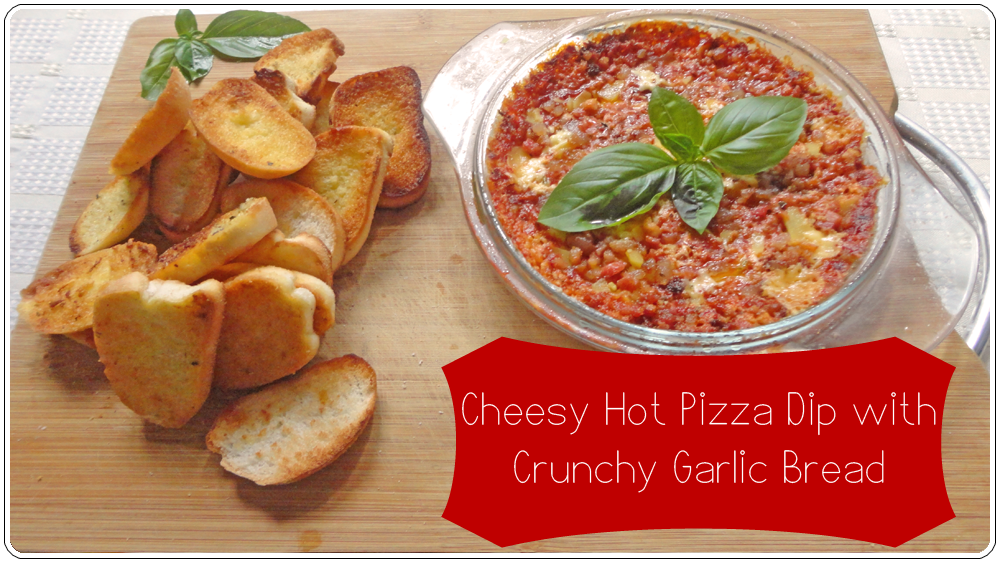 Cheesy Hot Pizza Dip with Crunchy Garlic Bread