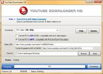 Interface do YouTube Downloader HD