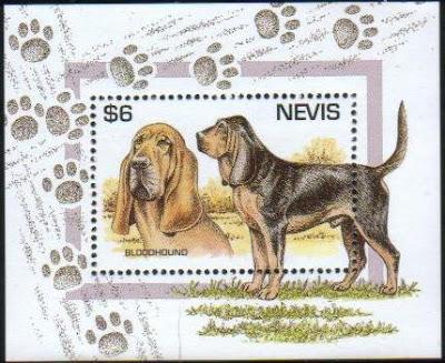 1995年セントクリストファー・ネビス ブラッドハウンドの切手シート