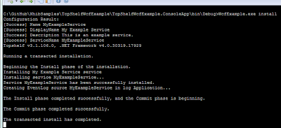 Output of the WcfExample.exe install command.