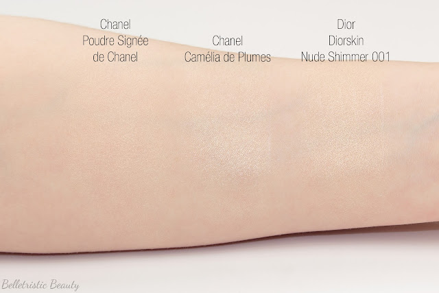 Chanel Camélia de Plumes Highlighting Highlighter Illuminating Illuminator Powder Platine Platinum swatch comparison, Plumes Précieuses de Chanel Collection, Holiday Winter 2014