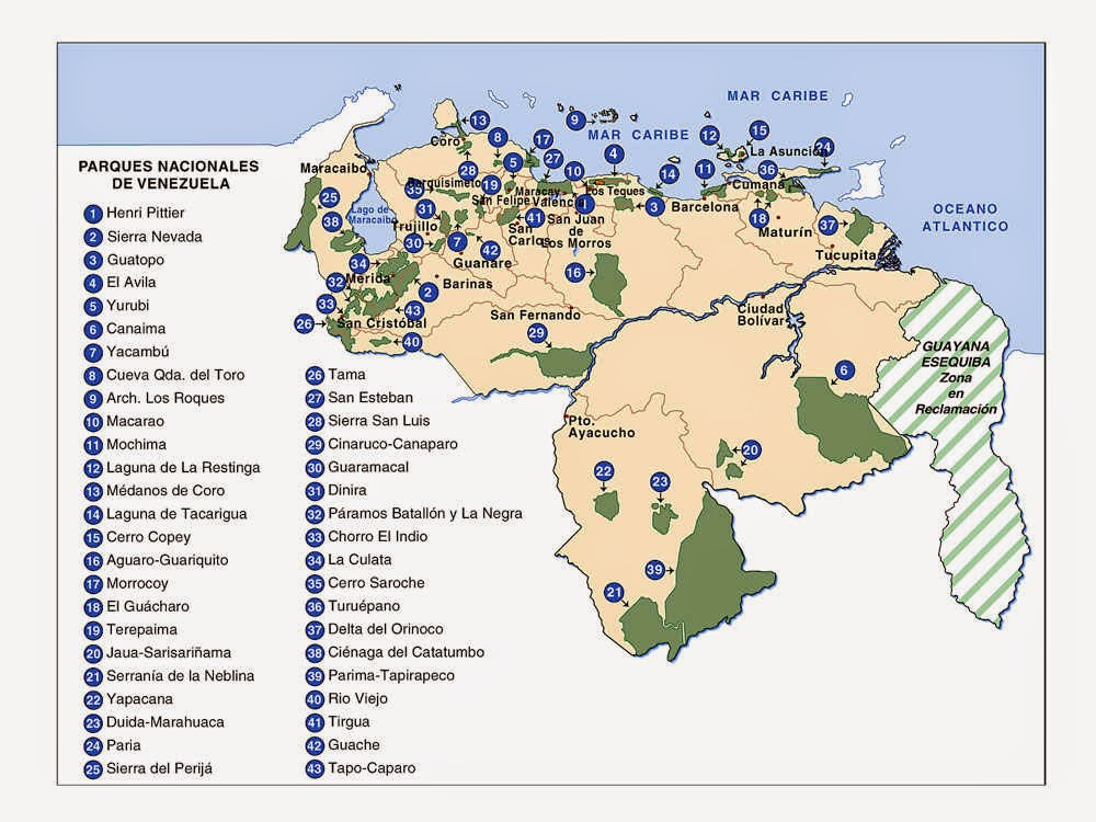 Mapa de Parques Nacionales de Venezuela