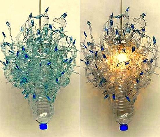 kraftangan, DIY, lampu dari botol plastik
