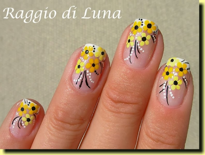 Raggio Di Luna Nails French Manicure With Yellow Flowers