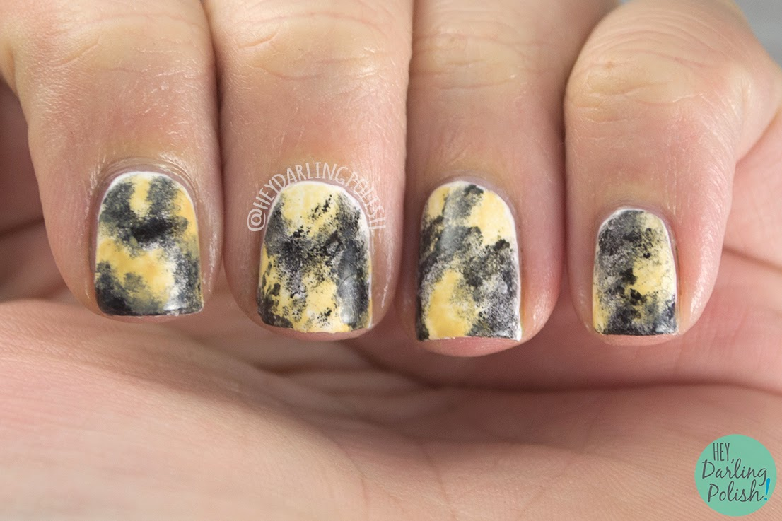 nails, nail art, nail polish, african wild dog, animal print, hey darling polish, oh mon dieu part deux, sponge nail art
