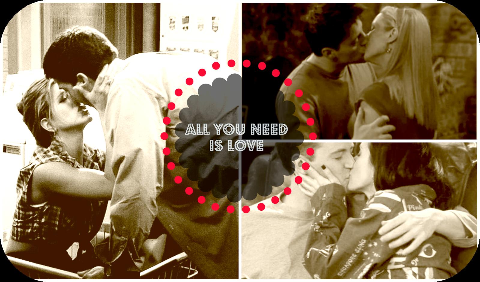Besos de los protagonistas de la serie Friends.