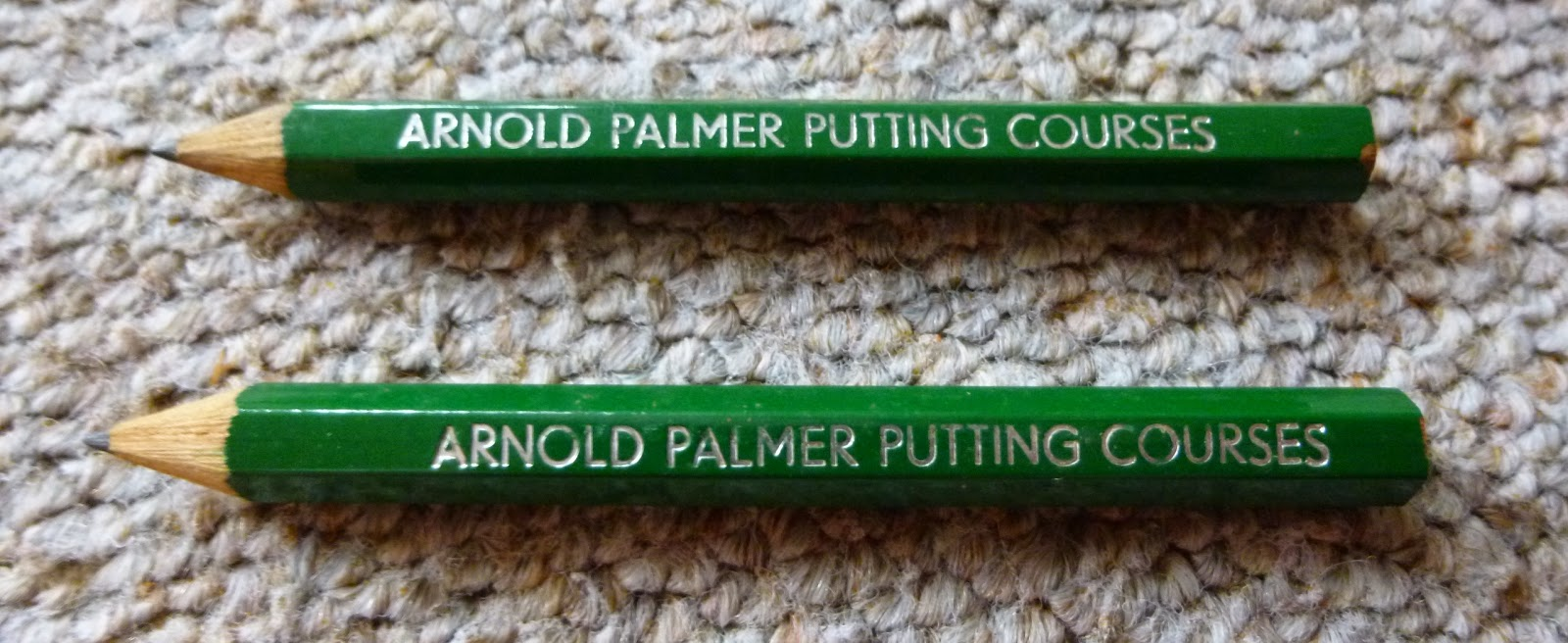 Arnold Palmer Putting Courses Pencils from the Crazy Golf course in Prestatyn, Wales