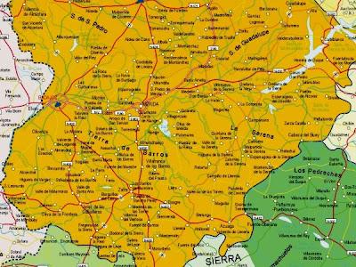 Badajoz Mapa Ciudad de la Región