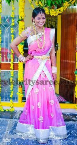 Bride in Baby Pink Half Saree