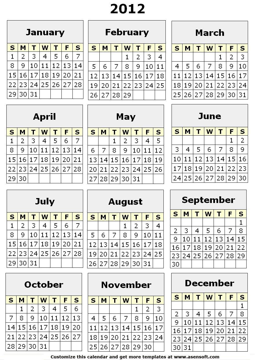 full calendar 2012