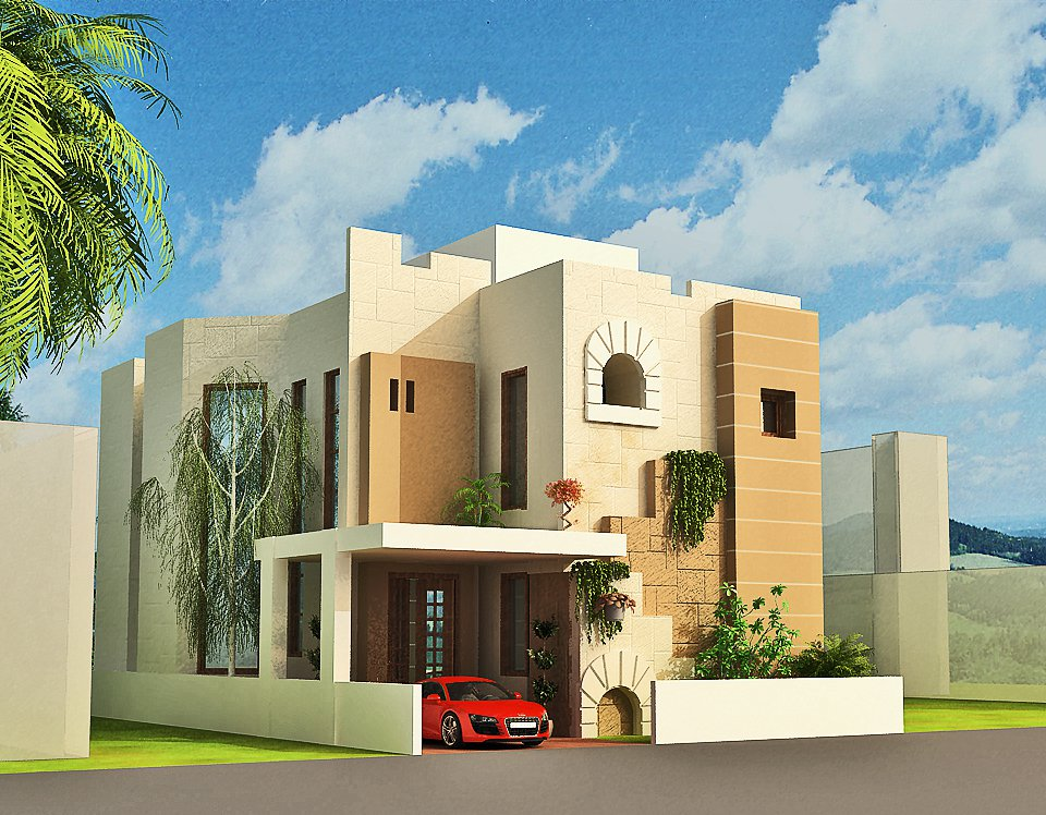 3d front 3d home design front elevation for House front design