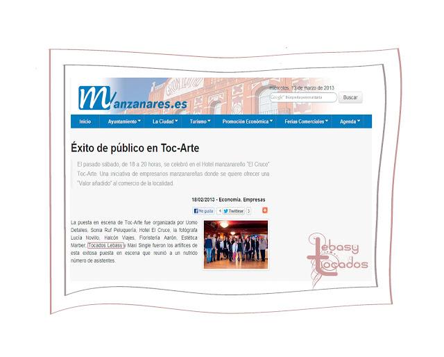 Web Ayuntamiento de Manzanares donde hablaron de los resultados de la celebración de Toc-Arte