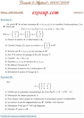 Contrôle 2 Algèbre 2+correction fssm