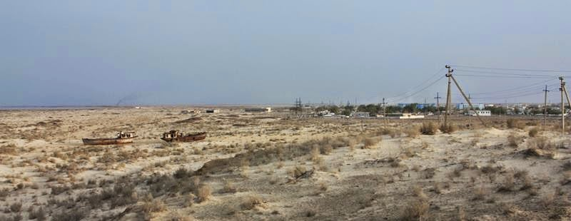 The former fishing port on the Aral Sea. The sea is now over 180 km away.