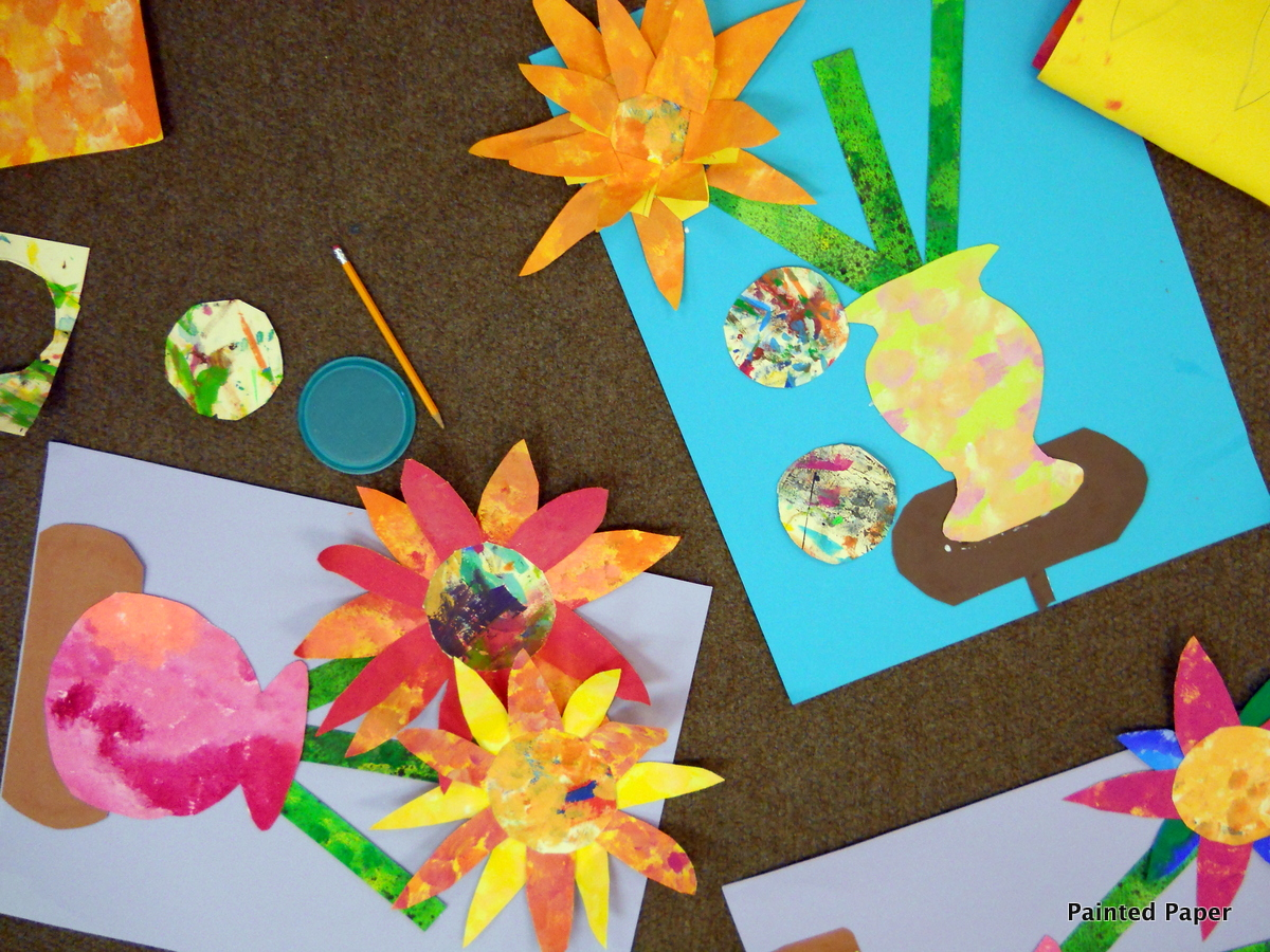 Painted paper painted paper bouquets for Painted paper flowers