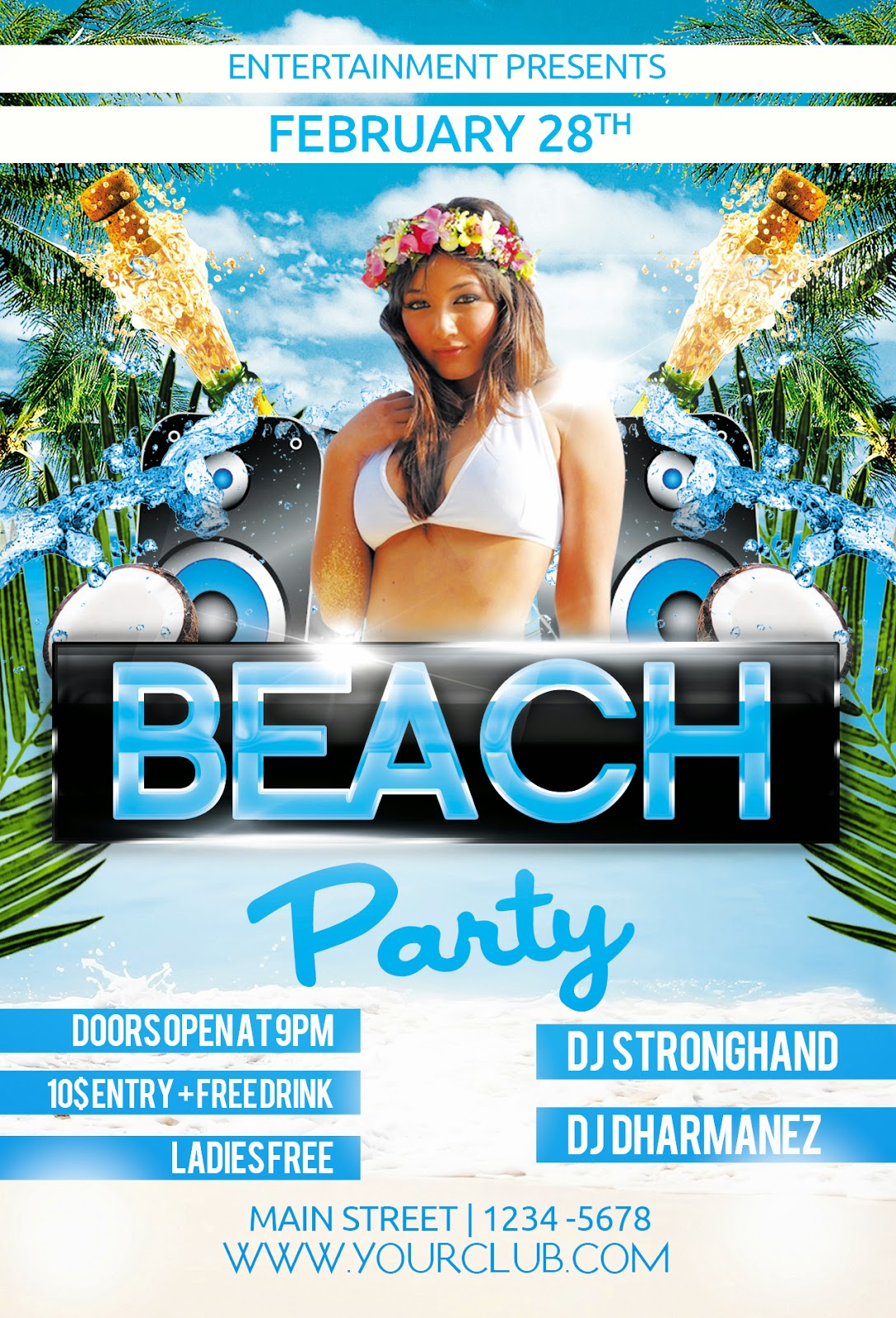 graphicriver beach party flyer template free stock