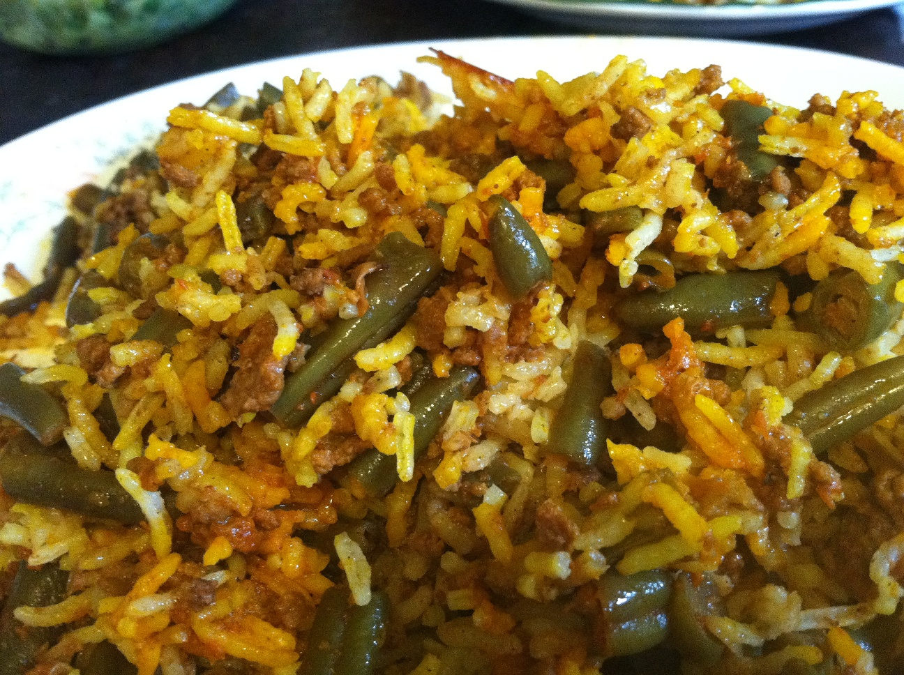 Savorychicks: Lubia Polo - Persian Green Bean Rice