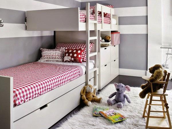 Dormitorio Juvenil a rayas grises y blancas