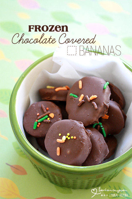 Hearts in My Oven: Frozen Chocolate Covered Bananas Slices