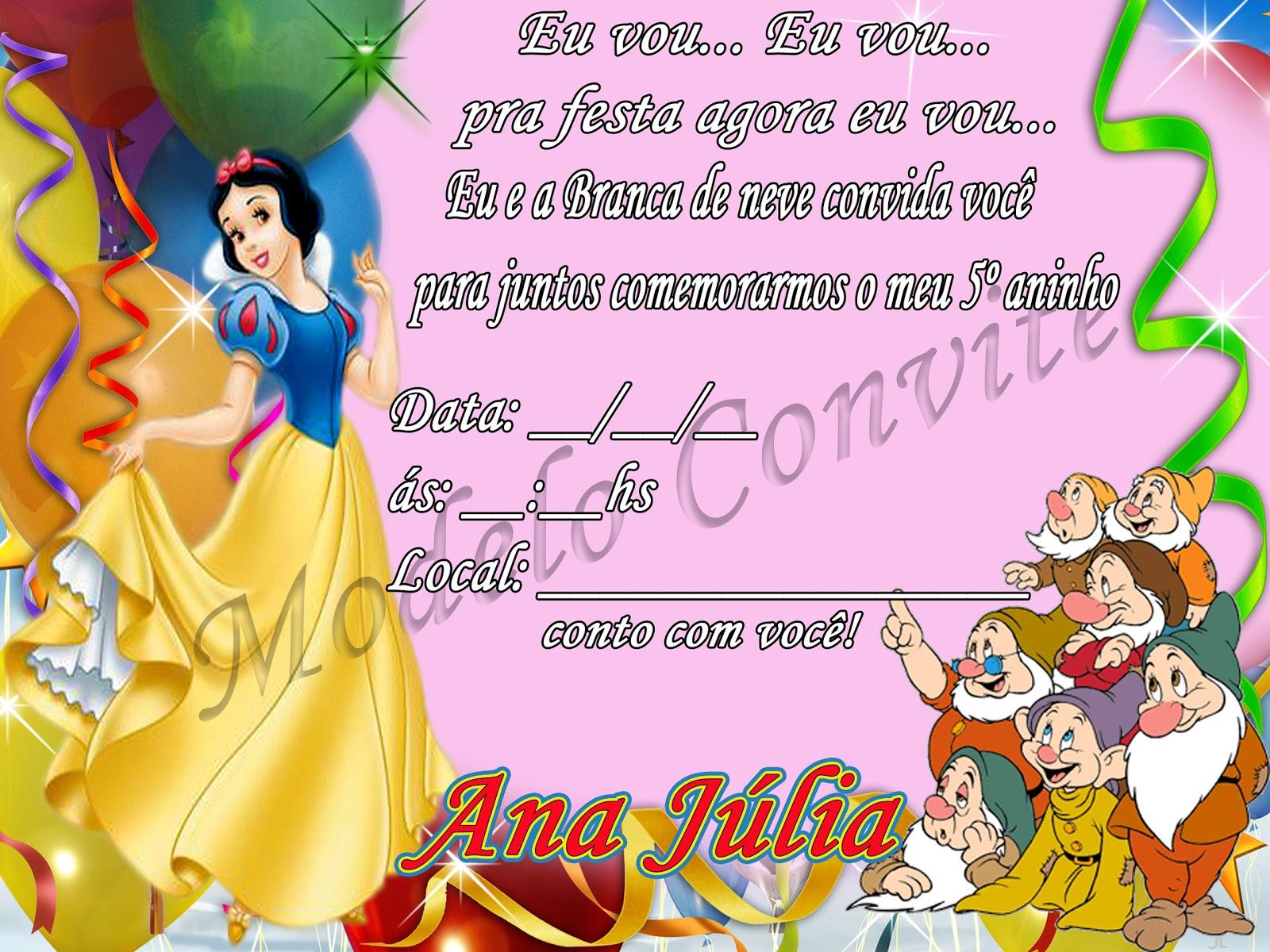 Tag Frases Para Convite De Aniversario Infantil Branca De Neve