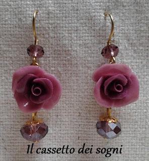 Pendente rose rosse + orecchini vari. Orecchini+rose+viola