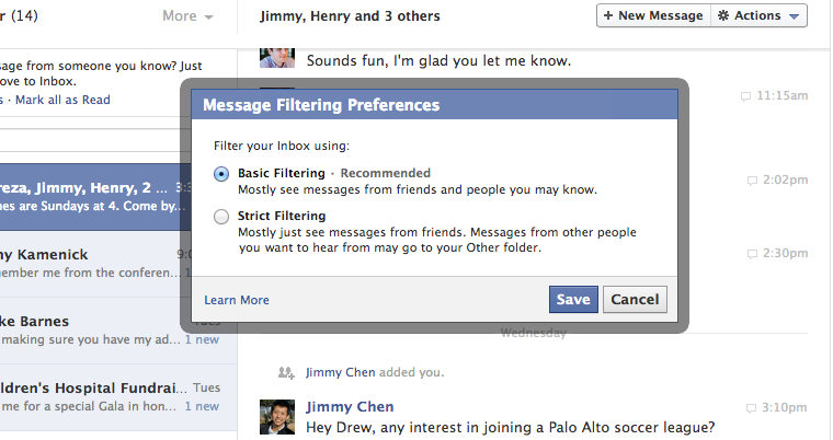 Facebook updates messaging and a test